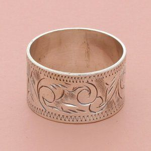 sterling silver vintage siam 10mm etched band ring